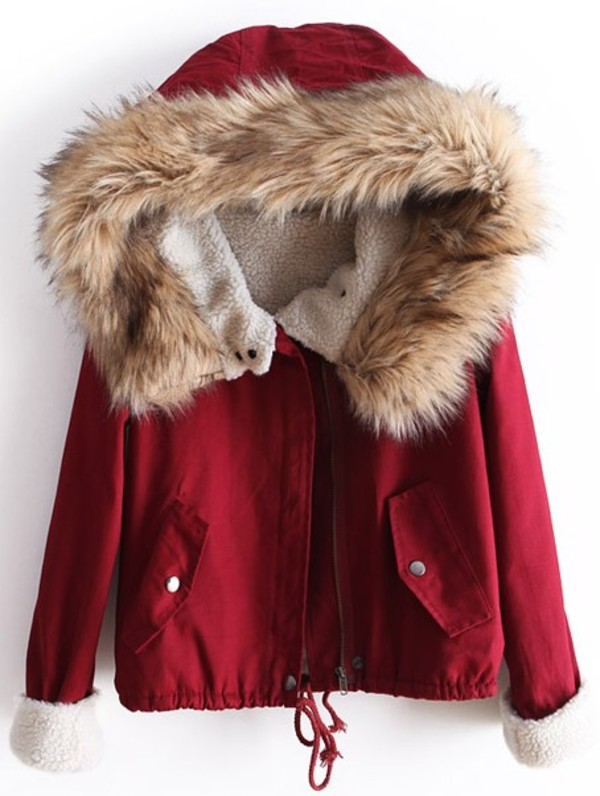 coat red parka winter outfits jacket furr cold red jacket
