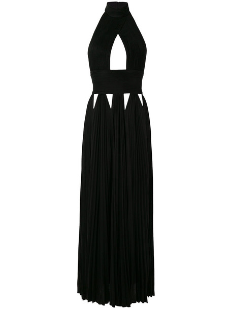 Givenchy gown pleated women black silk dress