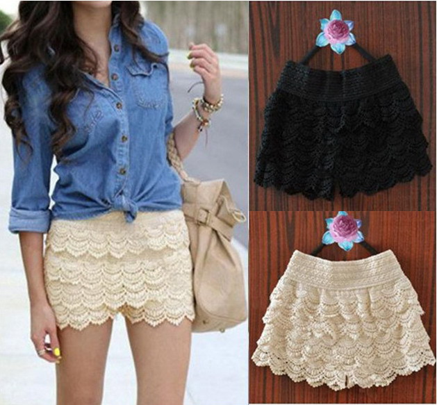 Women Black white Lace Shorts skirt Ladies high waist Vintage Mini Eueopean and American Style saias femininas  Freeshipping-in Shorts from Apparel & Accessories on Aliexpress.com