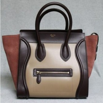 Celine Blush Smooth Leather & Suede Tricolor 2012 Mini Luggage Bag, Sold Out in stores | Portero Luxury