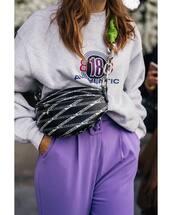 bag,balenciaga,crossbody bag,chain bag,sweater,pants,wide-leg pants