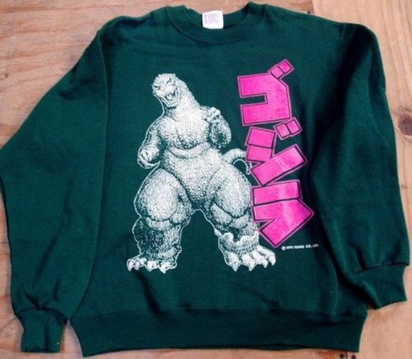 sweater green sweater godzilla godzilla sweater graphic sweater