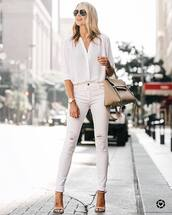 shirt,tumblr,white shirt,denim,jeans,white jeans,skinny jeans,sandals,sandal heels,high heel sandals,nude sandlas,bag,nude bag,shoes