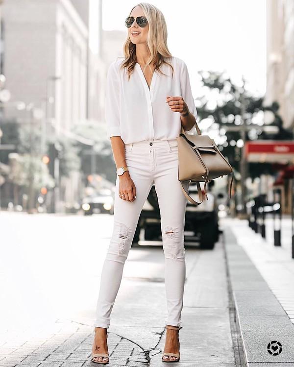 Shirt tumblr white shirt denim jeans white jeans skinny jeans sandals sandal heels high ...