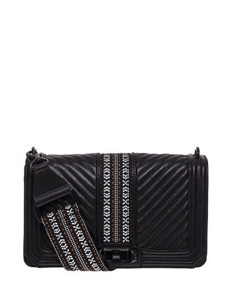 jacquard leather black bag