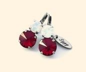 jewels,swarovski,earrings,red and white,red and white jewelry,siam and white opal,red and white opal,12mm,swarovski earrings,sparkle,anniversary,anniversary gift,elegant,shimmer,trendy,designerearrings,bling,siggy,red,double stone earrings,valentines day gift idea,valentines day,valentine's day,valentines day accessories,blingy,sabika inspired