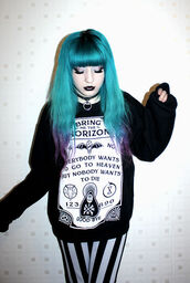 sweater,black,bring me the horizon,goth,printed sweater,leggings,kawaii,jumper,ouija,bat,white,ouija board,band,grunge,punk,rock,black sweater,band merch,hair dye,blue hair,jewels,pastel goth