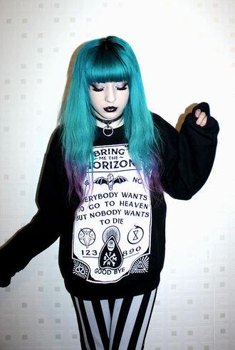 sweater black bring me the horizon goth printed sweater leggings kawaii emo grunge band music lyrics