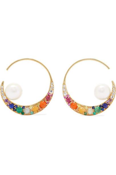 Noor Fares rainbow earrings hoop earrings gold jewels