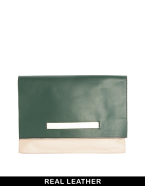 Asos white leather reversible clutch bag at asos