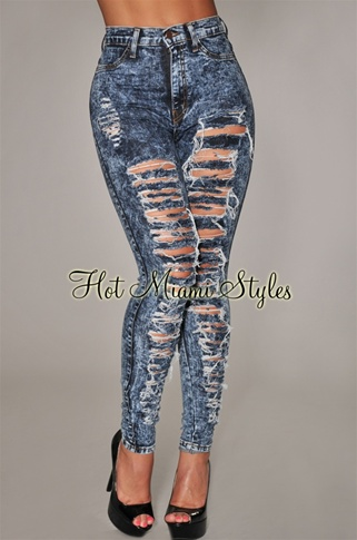Dark Blue Acid Wash Denim Destroyed High-Waist Skinny Jeans