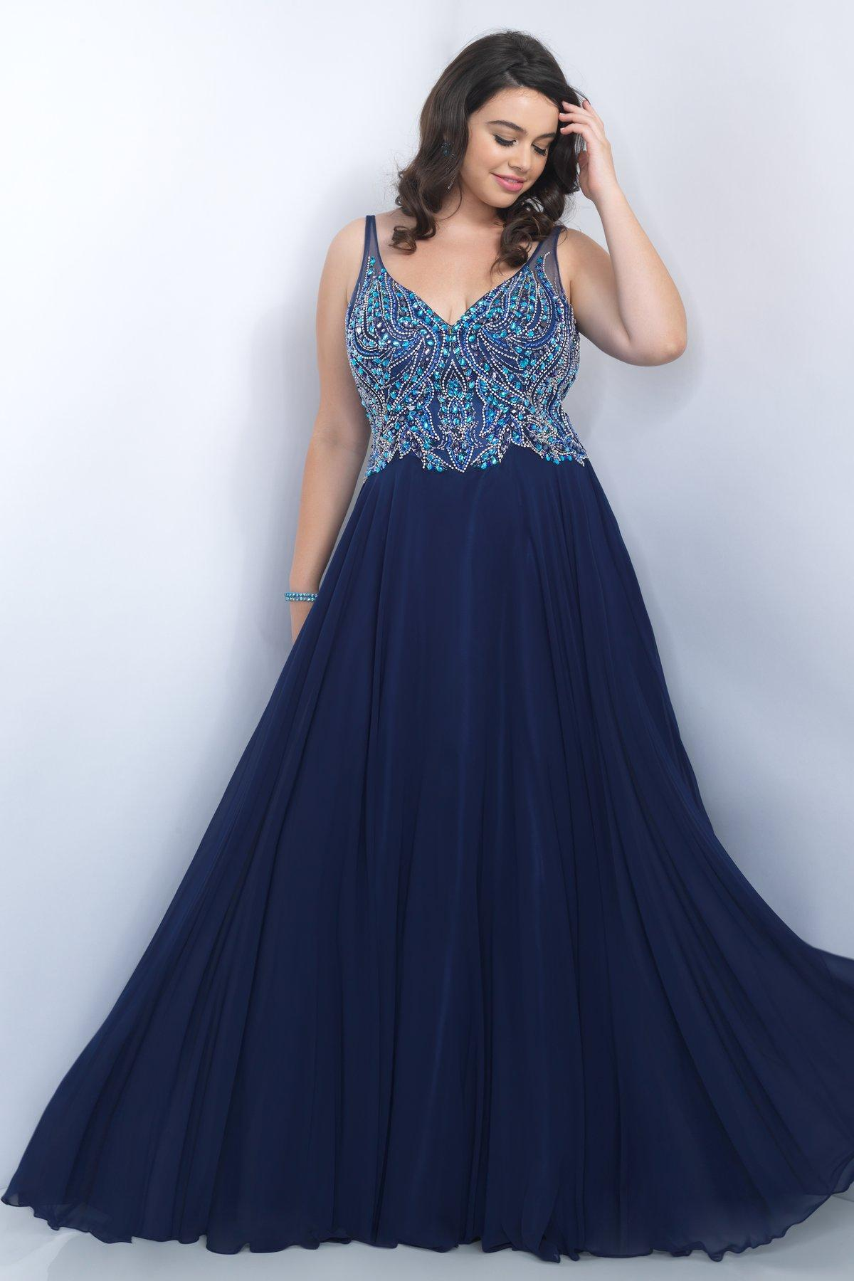 Plus Size Womens Navy V Neck 2016 Plus Size Prom Evening Gowns ...