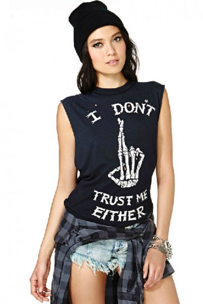 KCLOTH I Dont Trust Me Either Slogan Printed Casual Tee