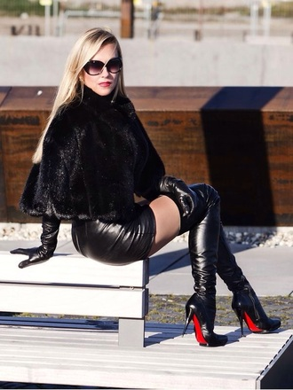 shoes black leather sexy boots overknee fur skirt thigh high boots coat