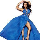 dress,nicki minaj,front cover cosmopolitan,fierce,godess,blue dress,slit dress