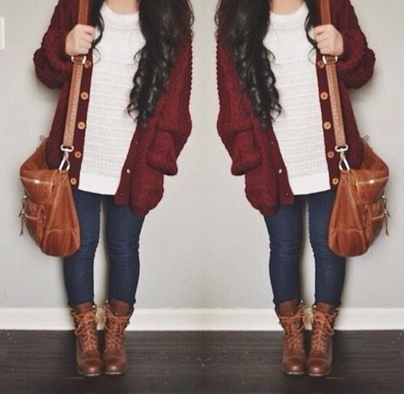 bag brown bag shoulder bag cute bag cardigan