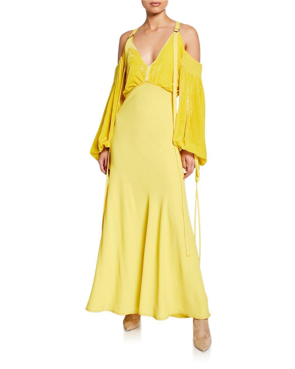 Cold-Shoulder Velvet-Bodice Long Dress