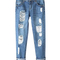 Casual cutting frayed jeans for women
