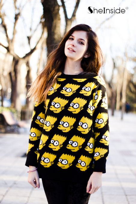 Yellow long sleeve simpson cartoon pattern loose sweater