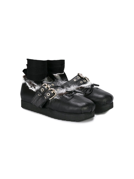 Douuod Kids fur shoes leather black