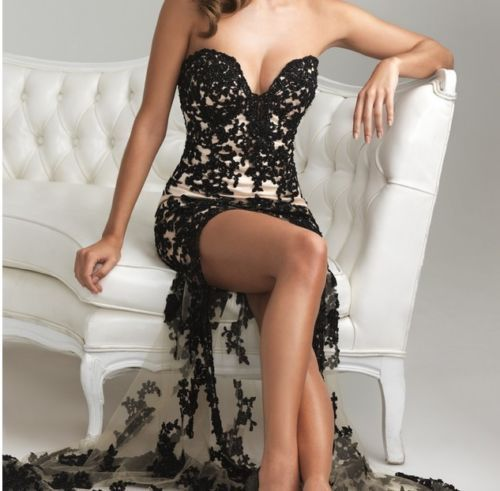 Sexy Black Lace Evening/prom dress/Formal/Party/Ballgown/Sz 6 8 10 12 14 16  | eBay