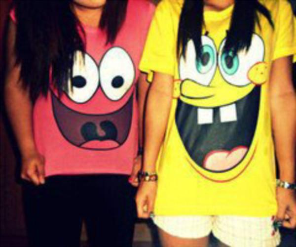 shirt t-shirt spongebob spongebob patrick pink yellow funny shirt