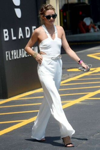 jumpsuit pants white olivia palermo summer outfits summer sandals sunglasses shoes white jumpsuit