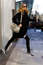 the blonde salad,jeans,sweater,jewels,coat,bag,sunglasses,skirt,shoes