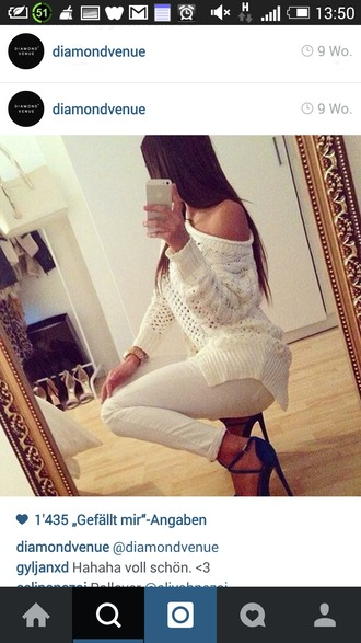 sweater knitted sweater white sweater