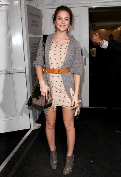 Jacket: leighton meester, low heels, buckles, leather, grey shoes ...