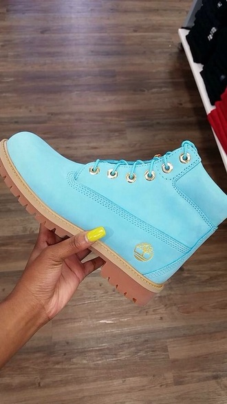 shoes timberlands light blue baby blue boots