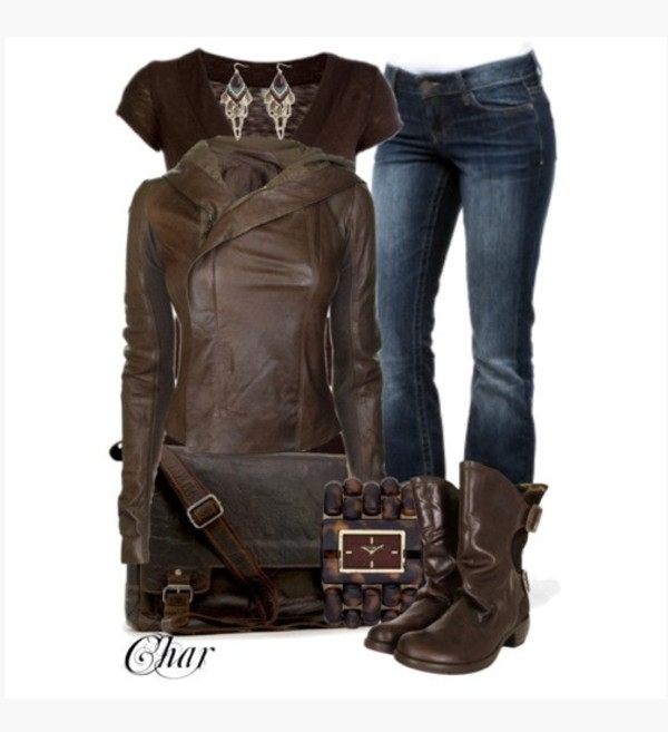 Jacket: coat, leather jacket, side zipper, wide collar, brown ...
