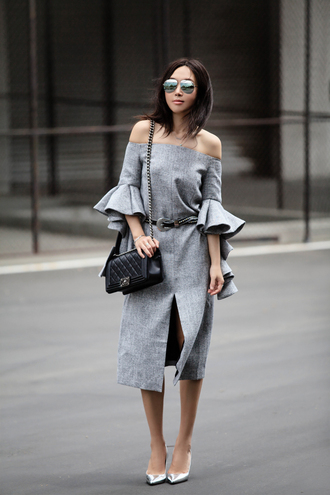 fit fab fun mom blogger mirrored sunglasses grey dress off the shoulder dress ruffle ruffle dress front slit slit dress elegant dress chanel bag chain bag western belt silver shoes pointed toe pumps