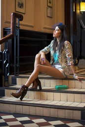 macademian girl,blogger,jacket,shorts,brown leather boots,hair accessory,top,shoes,bag,jewels,sunglasses