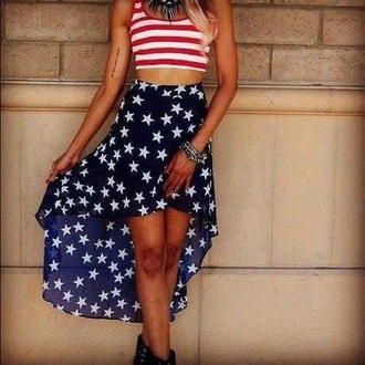skirt july 4th stars red white and blue crop tops hi low skirt stripes shirt american flag two piece dress set