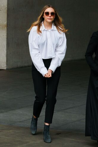 blouse pants elizabeth olsen spring spring outfits shirt black and white ankle boots