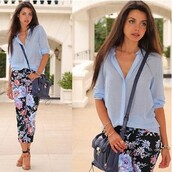 pants,flowers,printed pants,blue shirt,blouse