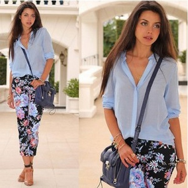 pants flowers printed pants blue shirt blouse