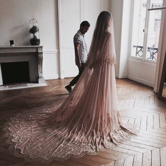 dress wedding wedding dress blush pink girly pink long dress lace dress lace romantic beautiful