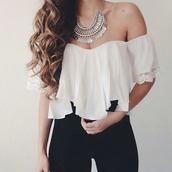 top,jewels,white,vanessa hugdens,off sleeve top,pants,blouse,white top,tank top,shirt,necklace,fall outfits,fashion,beautiful,flowy,boho,statement necklace,white blouse,lace,off the shoulder top,ruffled top