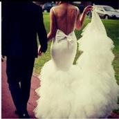 dress,wedding dress,wedding clothes,white,bow,wedding,beautiful,mermaid wedding dress,low mermaid dress,bag,white dress,bows