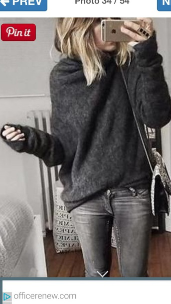sweater grey instagram pinterest fashion winter sweater winter outfits