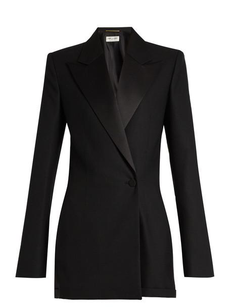 001aba7793c Saint Laurent SAINT LAURENT Peak-lapel wool-blend playsuit in black