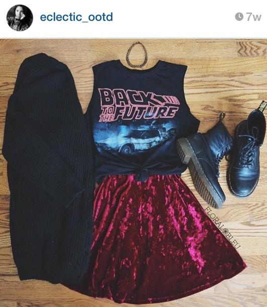 skirt velvet red grunge shirt