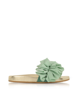 metallic sandals leather aqua shoes