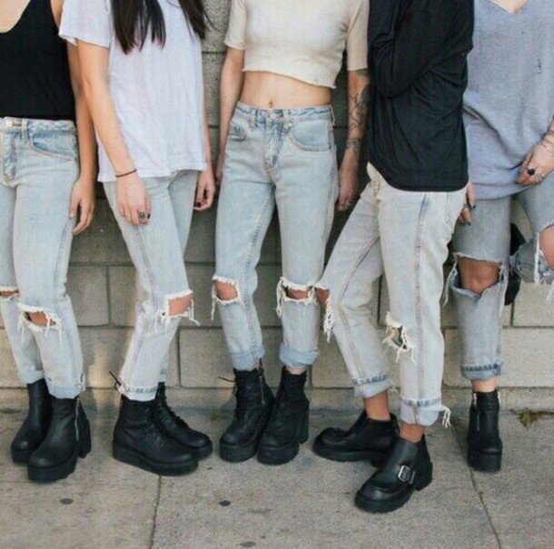 Jeans Pale Ripped Jeans Boyfriend Jeans Baggy Jeans Baggy Pants Tumblr Outfit Used Look ...