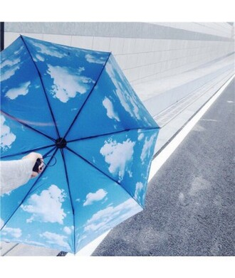 home accessory blue sky fashion style trendy cool umbrella clouds teenagers it girl shop