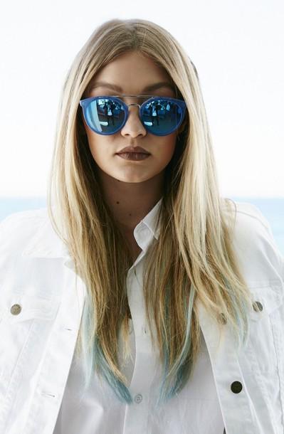 sunglasses, gigi hadid, model, style, fashion, guess, blue ...