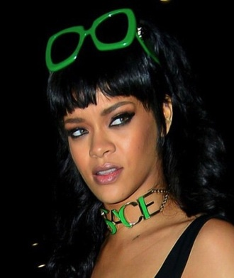 rihanna choker necklace accessories accessory green sunglasses