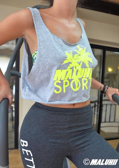 sportswear neon top maluhii yellow crop tops gym clothing clothes tank top
